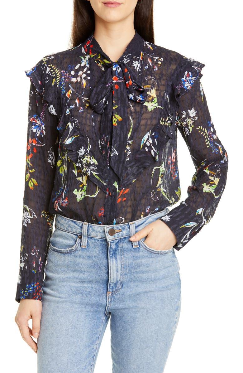 TANYA TAYLOR Layla Sheer Silk & Cotton Blouse, Main, color, 482