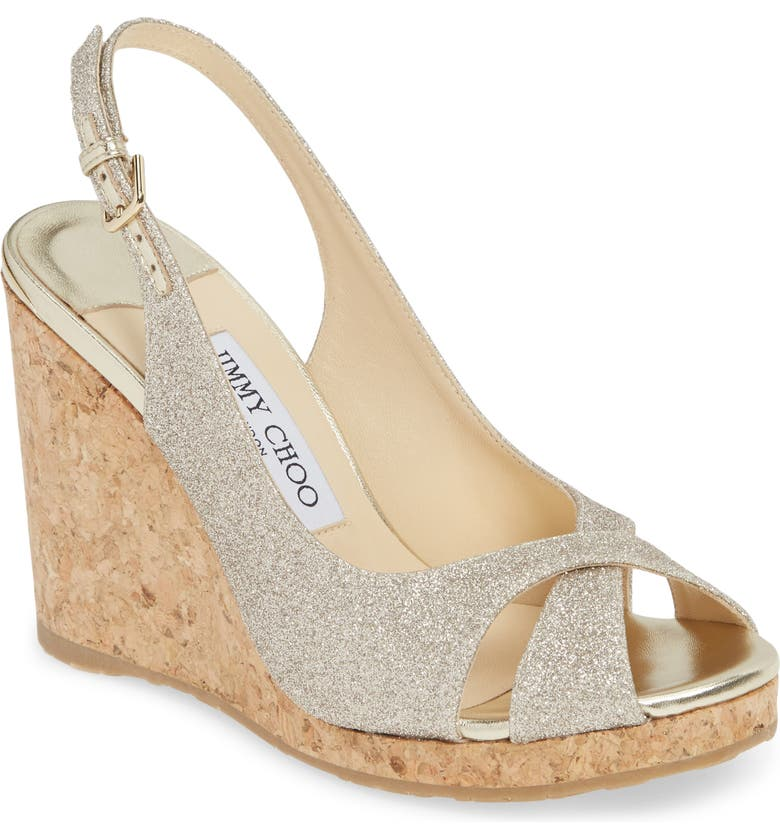 JIMMY CHOO Amely Slingback Wedge Sandal, Main, color, PLATINUM ICE