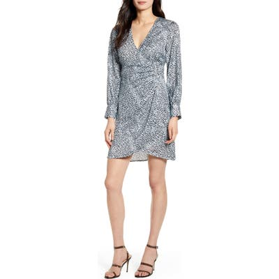 Cupcakes And Cashmere Virgo Cheetah Print Long Sleeve Faux Wrap Dress, Blue