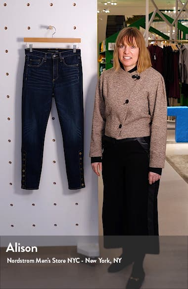 Debbie Side Button High Waist Ankle Skinny Jeans, sales video thumbnail