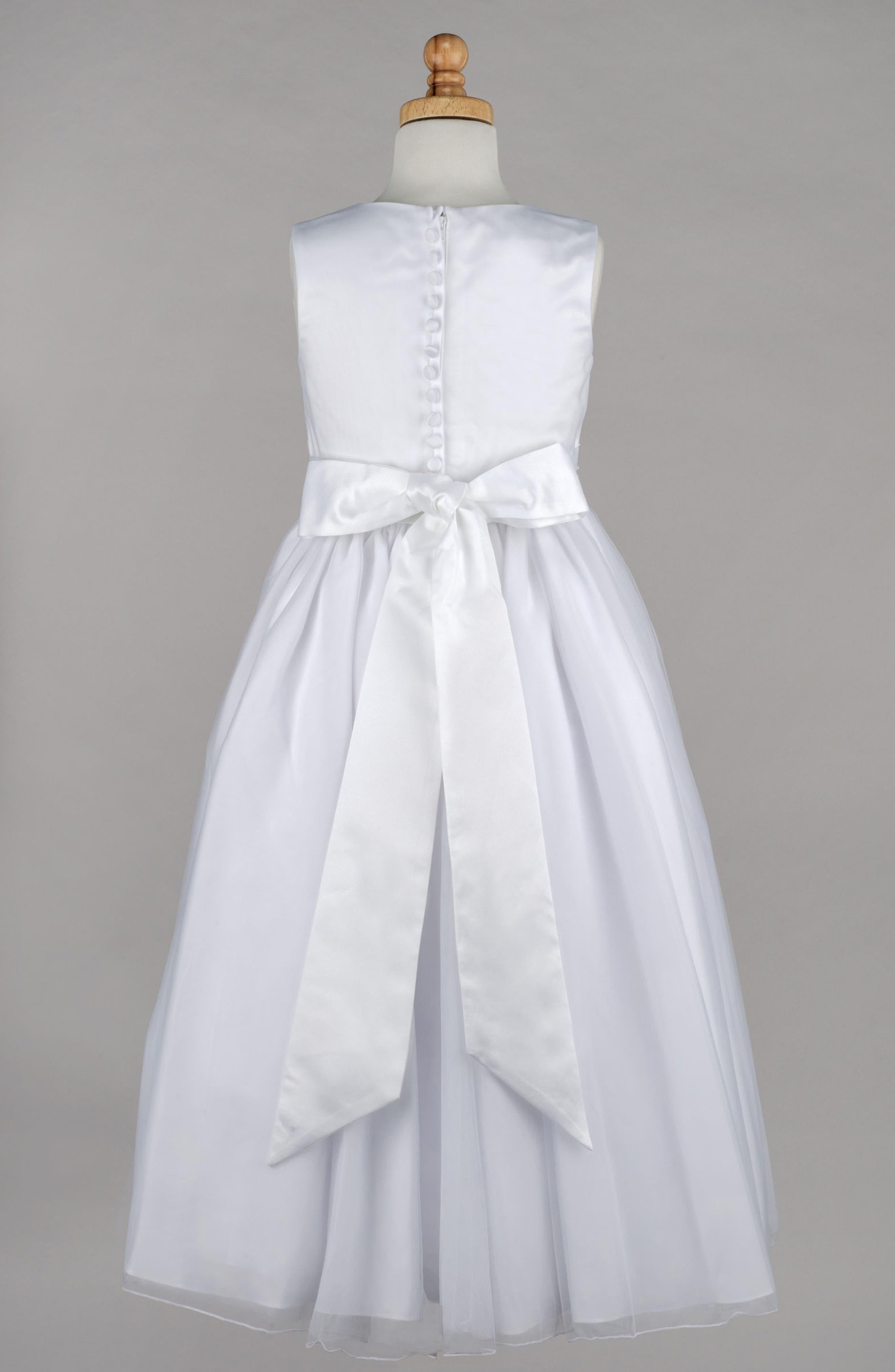 ,                             Beaded First Communion Dress,                             Alternate thumbnail 3, color,                             WHITE