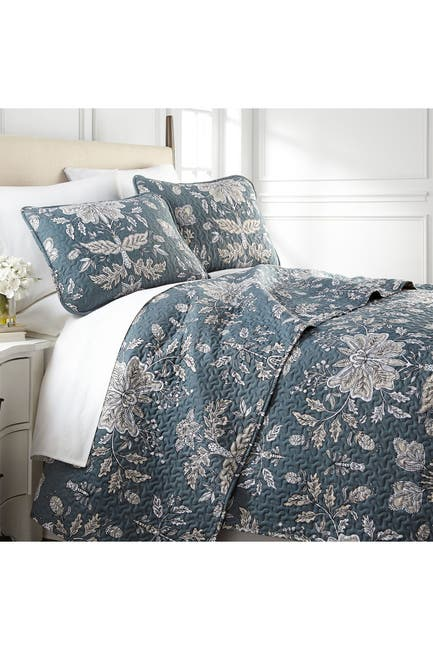 Image of SOUTHSHORE FINE LINENS King/California King Luxury Premium Collection Ultra-Soft Quilt Cover Set - Vintage Garden Smokey Blue