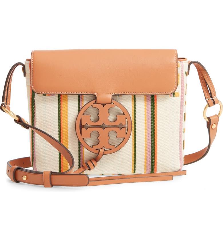 TORY BURCH Miller Stripe Crossbody Bag, Main, color, STRIPED PLAID DOUBLE WEAVE