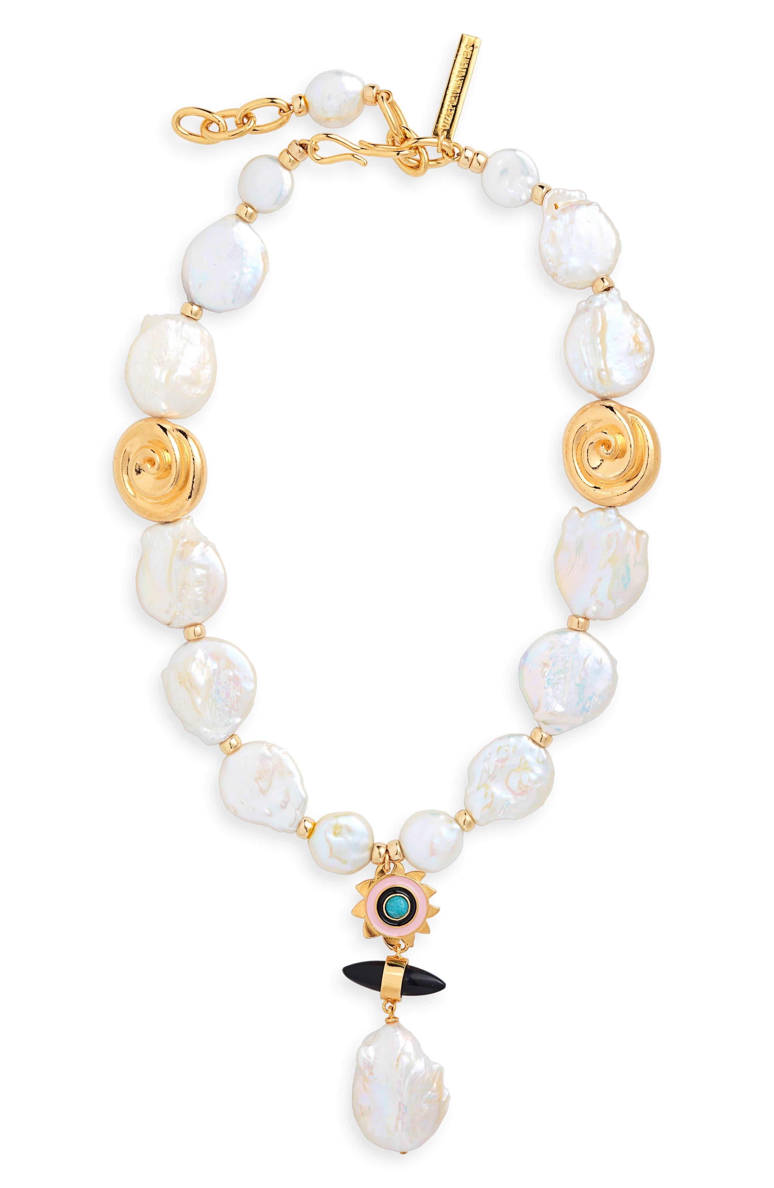 Pearl & Stone Pendant Necklace, Main, color, 100