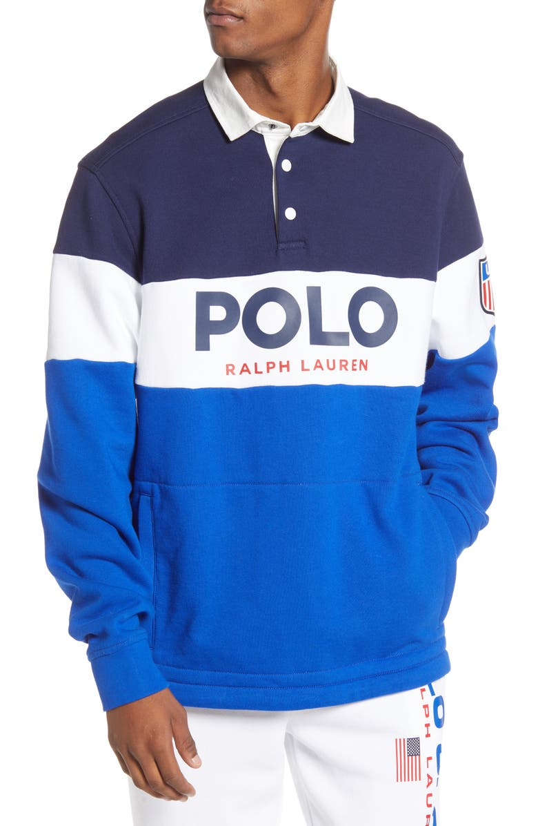 POLO RALPH LAUREN Colorblock Rugby Polo, Main, color, NEWPORT NAVY MULTI