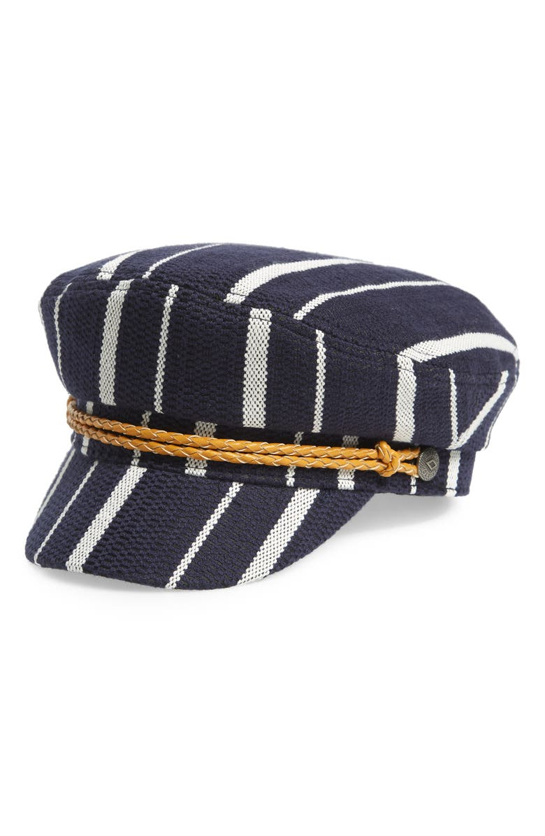 BRIXTON Ashland Stripe Baker Boy Cap, Main, color, NAVY/WHITE