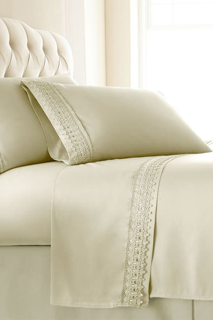 Image of SOUTHSHORE FINE LINENS Premium Collection Double Brushed Lace Extra Deep Pocket Sheet Sets - King