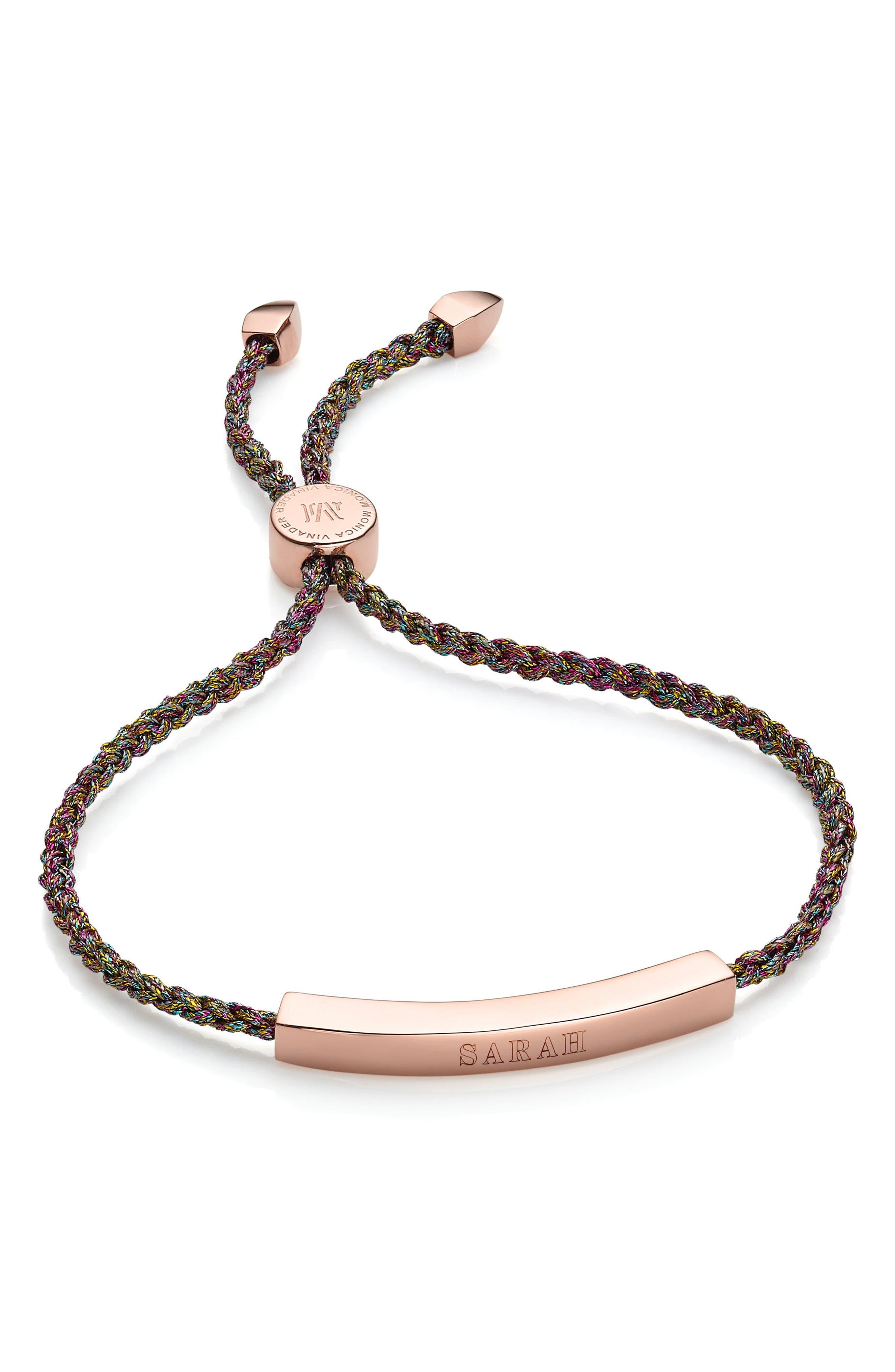 ,                             Engravable Linear Friendship Bracelet,                             Alternate thumbnail 5, color,                             ROSE GOLD/ RAINBOW