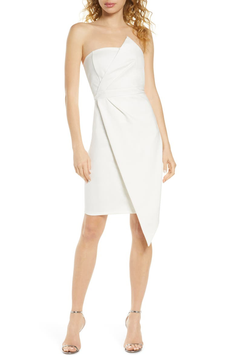 LULUS Queen of the City Strapless Cocktail Dress, Main, color, WHITE