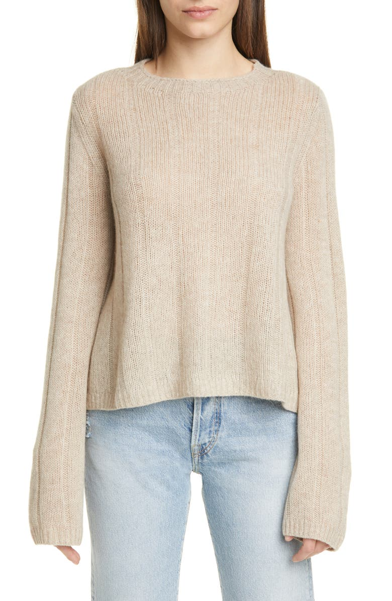 KHAITE Nelley Ribbed Cashmere Sweater, Main, color, POWDER
