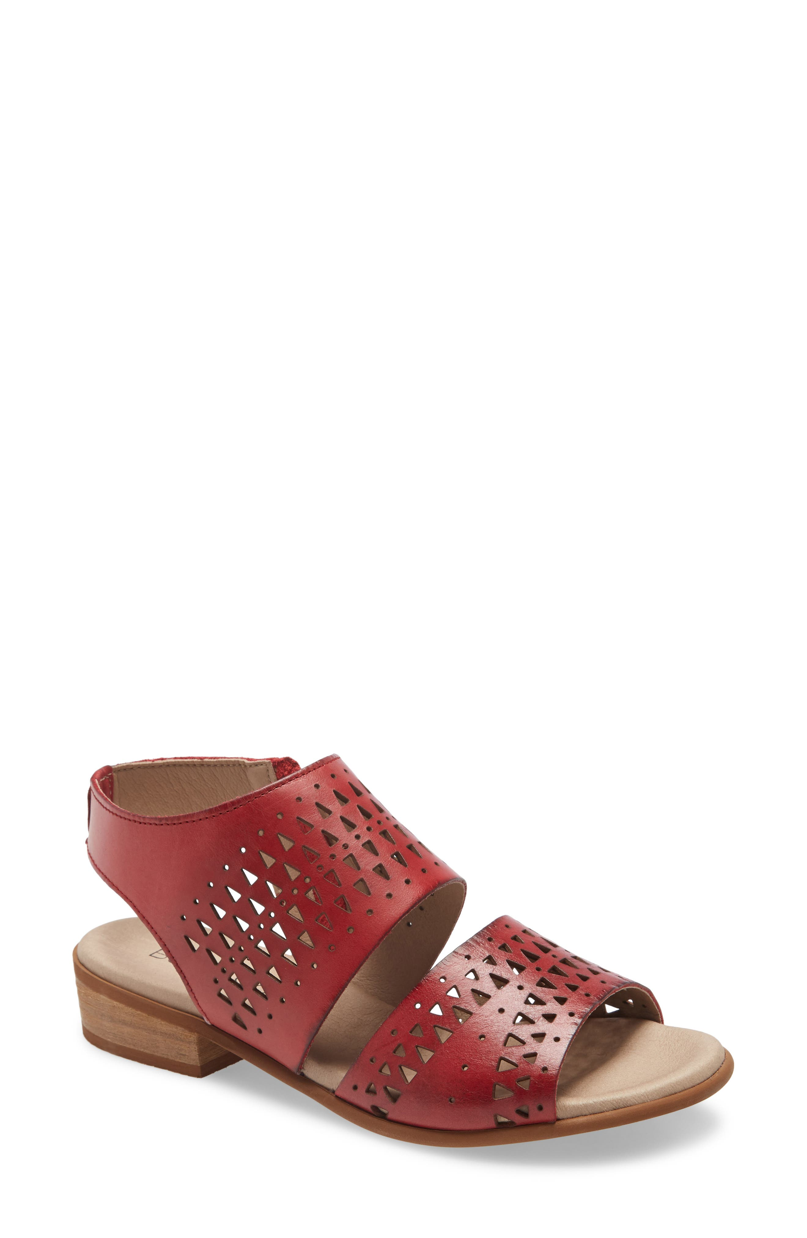Geometric perforations bring visual interest to a chic sandal furnished with a cushy memory foam footbed that provides lasting comfort. Style Name: Bos. & Co. Mylo Sandal (Women). Style Number: 6002120. Available in stores.