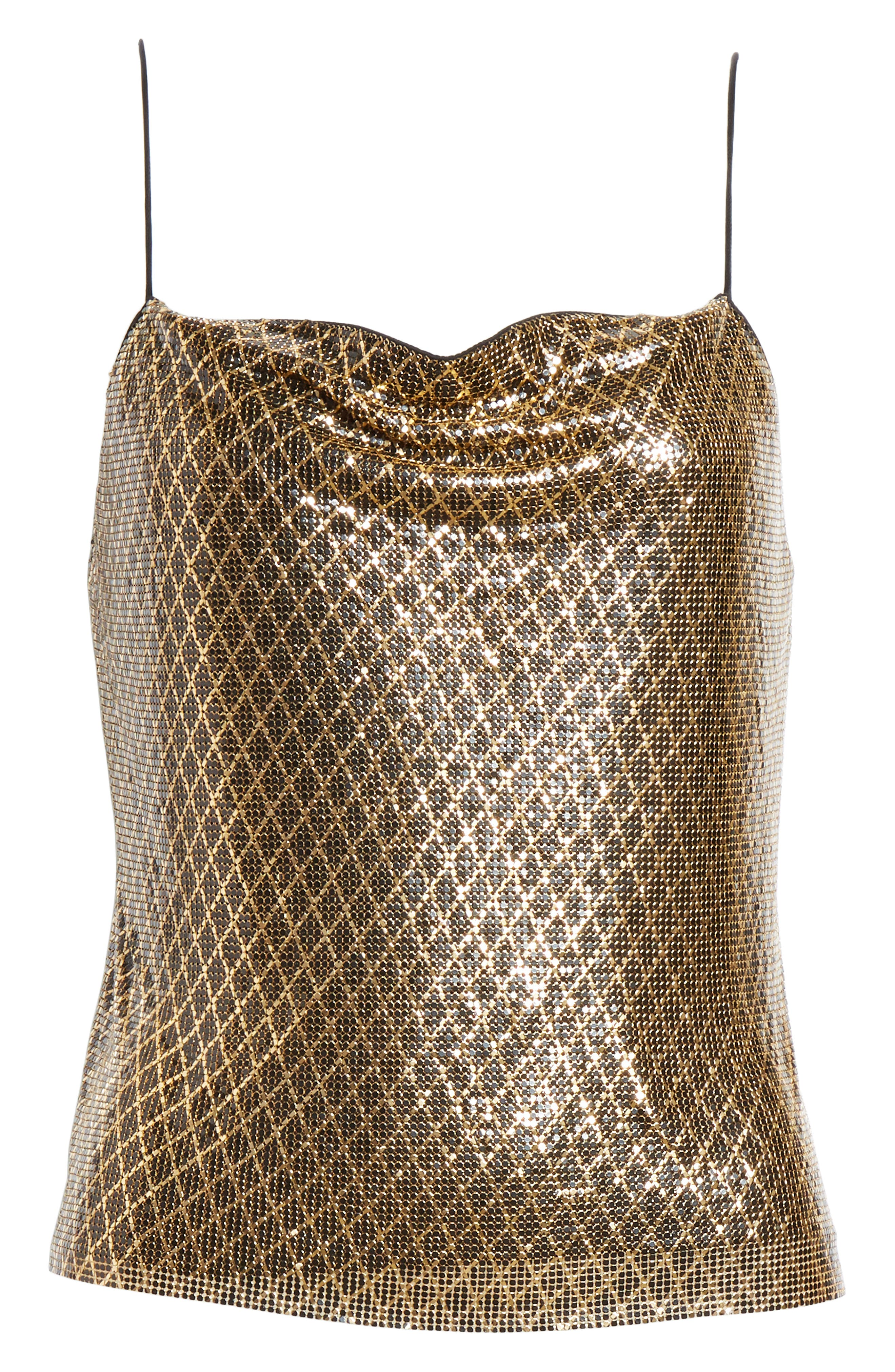 ,                             Harmon Chain Mail Drapey Camisole,                             Alternate thumbnail 6, color,                             BLACK/ GOLD