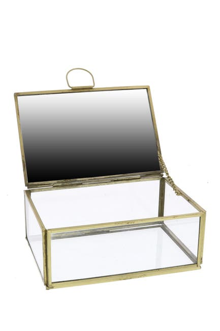 Image of HOMART Monroe Small Jewelry Box with Mirror - Brass