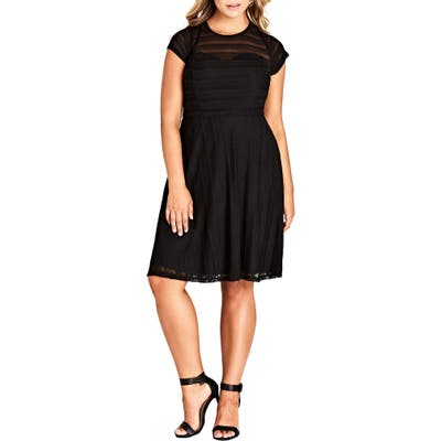 Plus Size City Chic Textured Heart Dress, Black