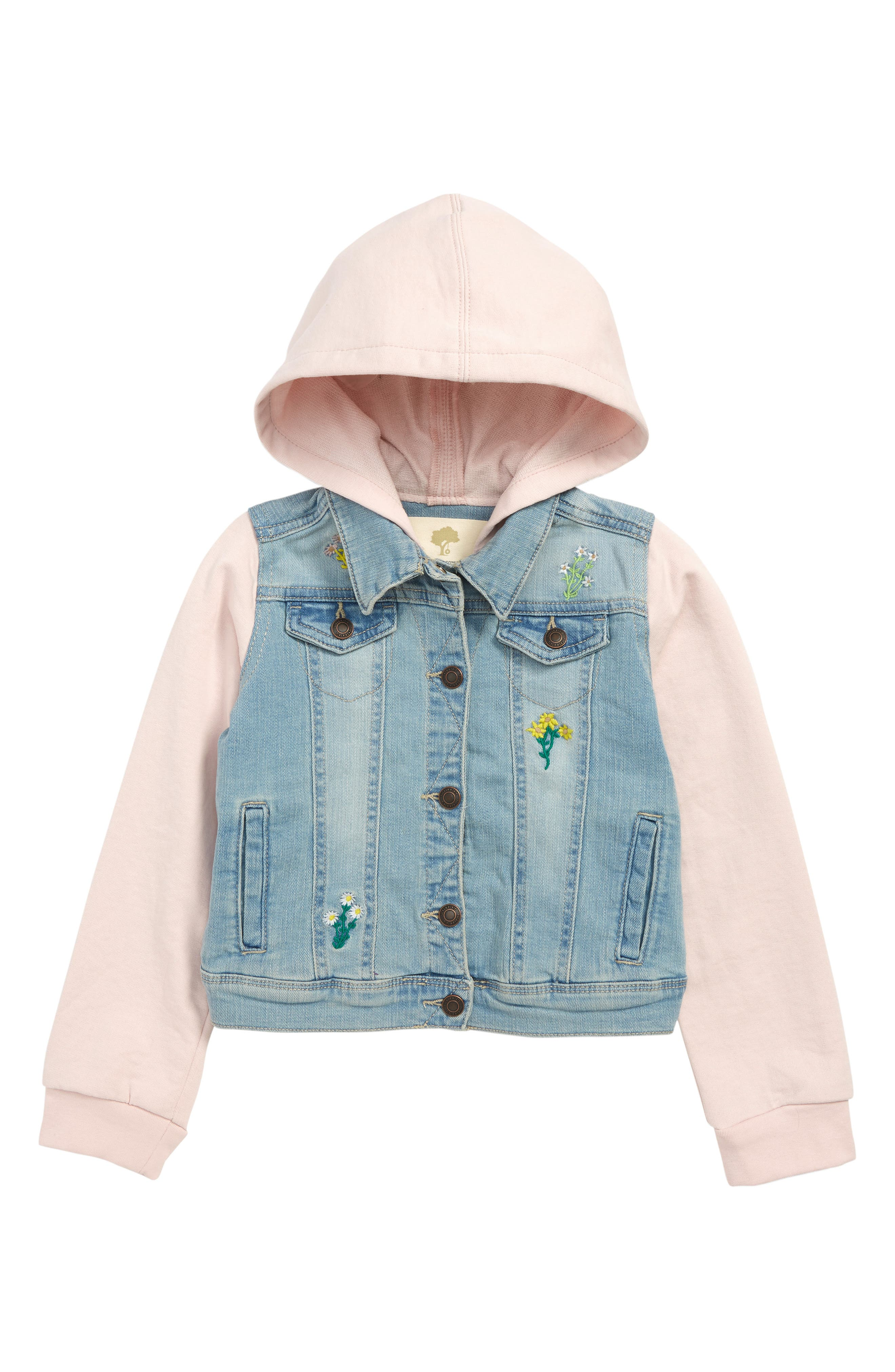 Embroidered Denim Jacket, Main, color, LILY WASH