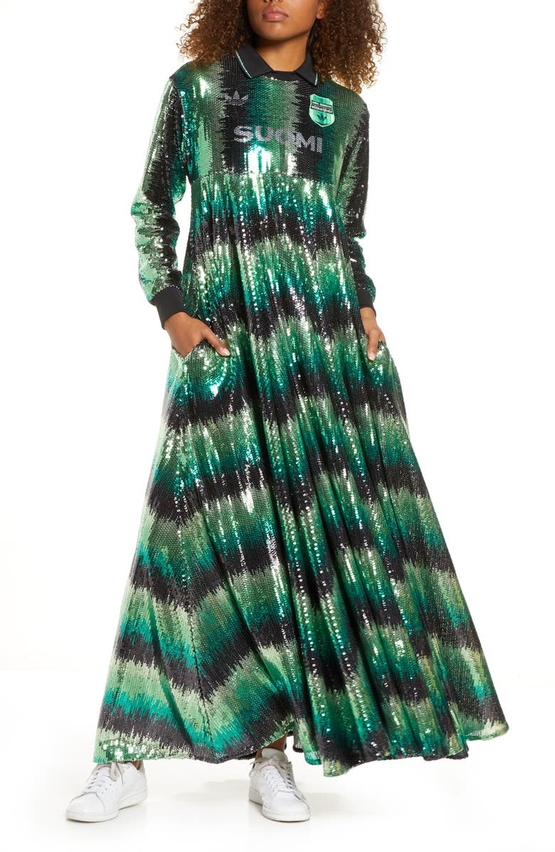 Máquina de recepción Kenia Asumir  adidas Originals Sequin Long Sleeve Maxi Dress | Nordstrom