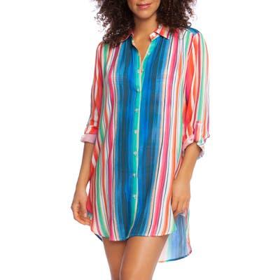 La Blanca Solar Stripe Long Sleeve Cover-Up Shirtdress, Red