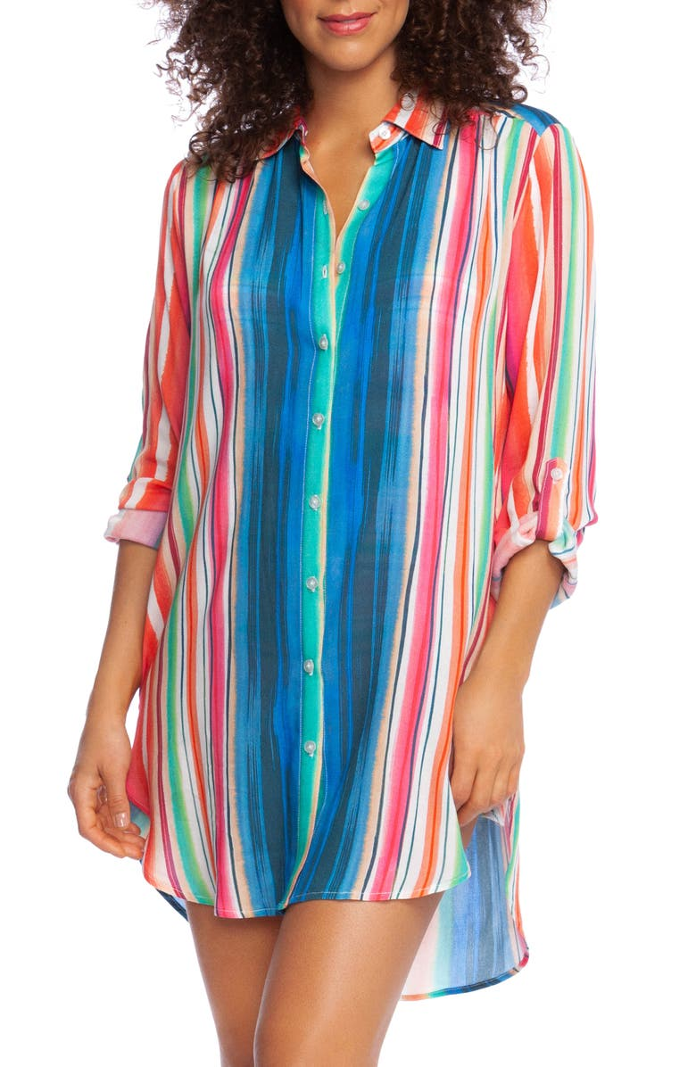 LA BLANCA Solar Stripe Long Sleeve Cover-Up Shirtdress, Main, color, MLT