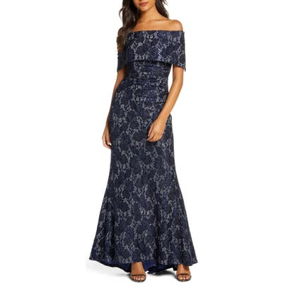 Vince Camuto Sequin Lace Off The Shoulder Gown, Blue