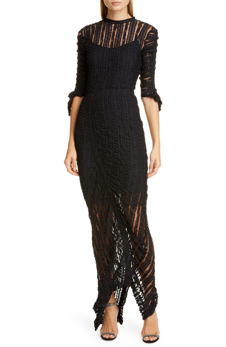 PREEN BY THORNTON BREGAZZI Ellison Stretch Lace Gown, Main, color, BLACK