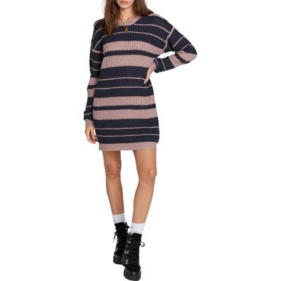 Volcom Move On Up Long Sleeve Sweater Dress, Pink