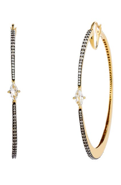 Image of NADRI Large White Topaz Hoop Earrings