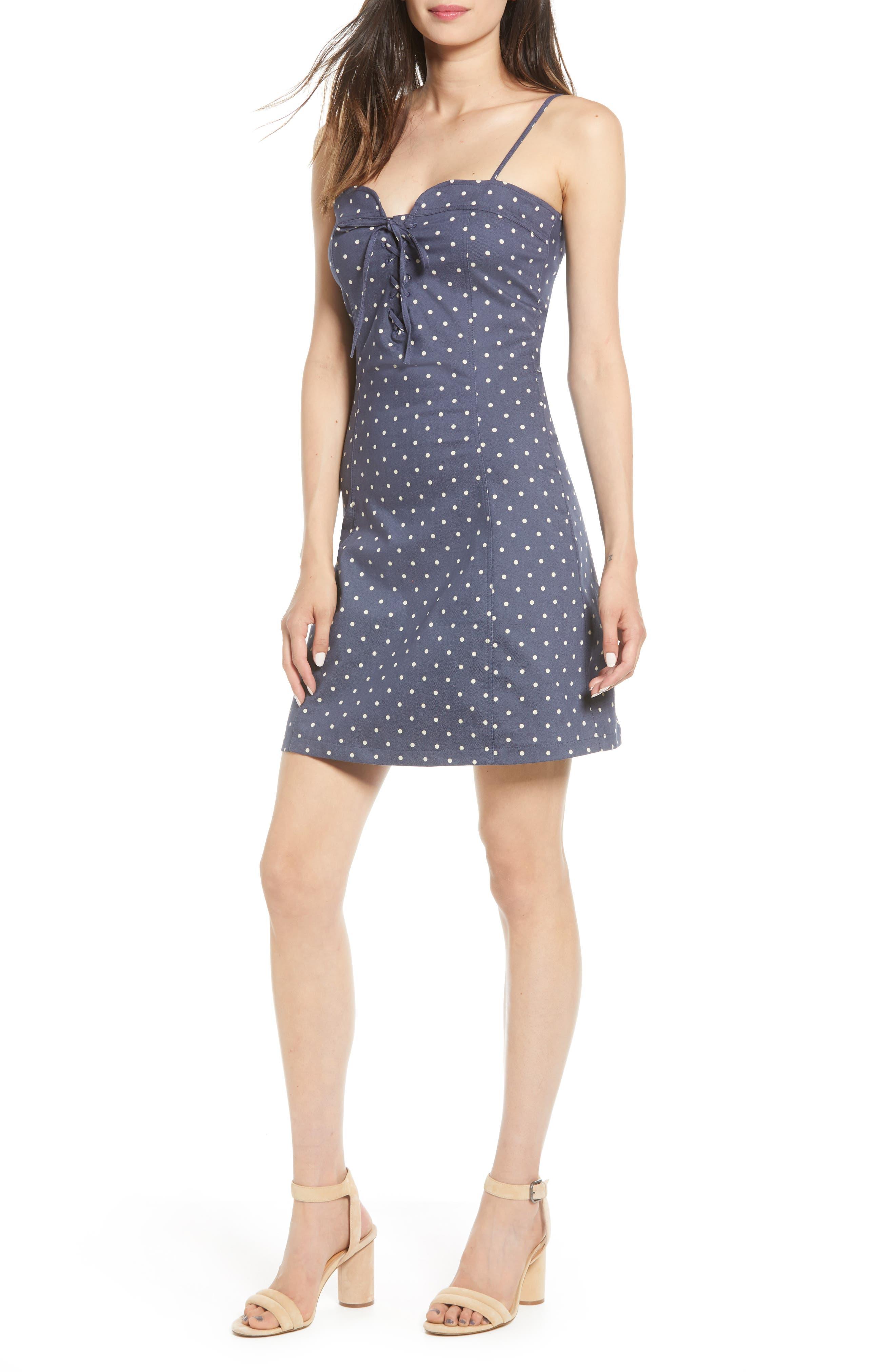Bishop + Young Polka Dot Lace-Up Cotton Dress, Blue