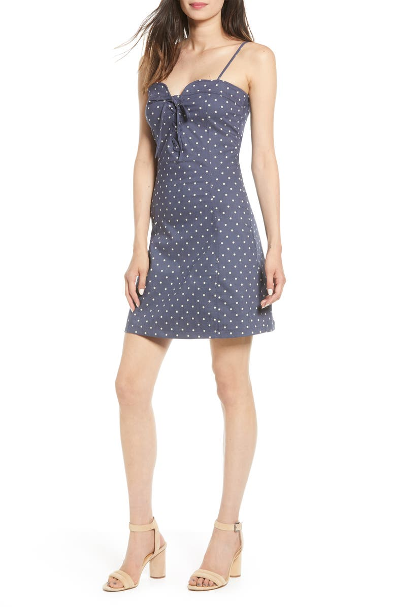 BISHOP + YOUNG Polka Dot Lace-Up Cotton Dress, Main, color, NAVY POLKA DOT