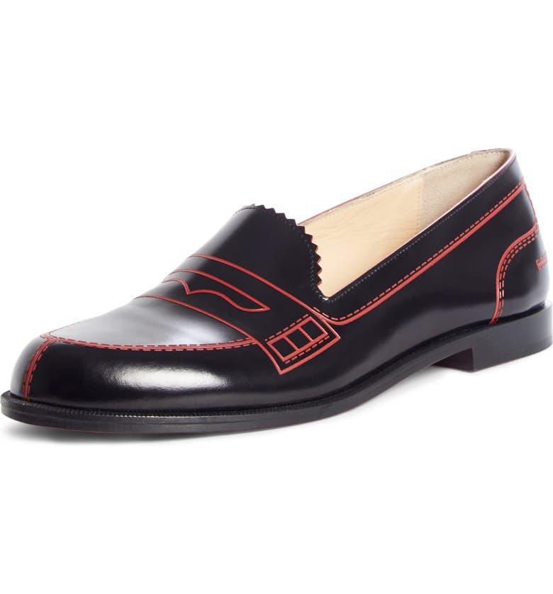 CHRISTIAN LOUBOUTIN Mocalaureat Loafer, Main, color, BLACK/ RED