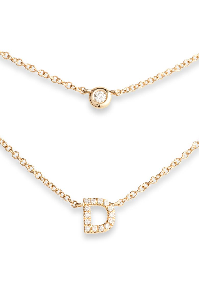 EF COLLECTION Diamond Bezel Initial Choker, Main, color, YELLOW GOLD-D