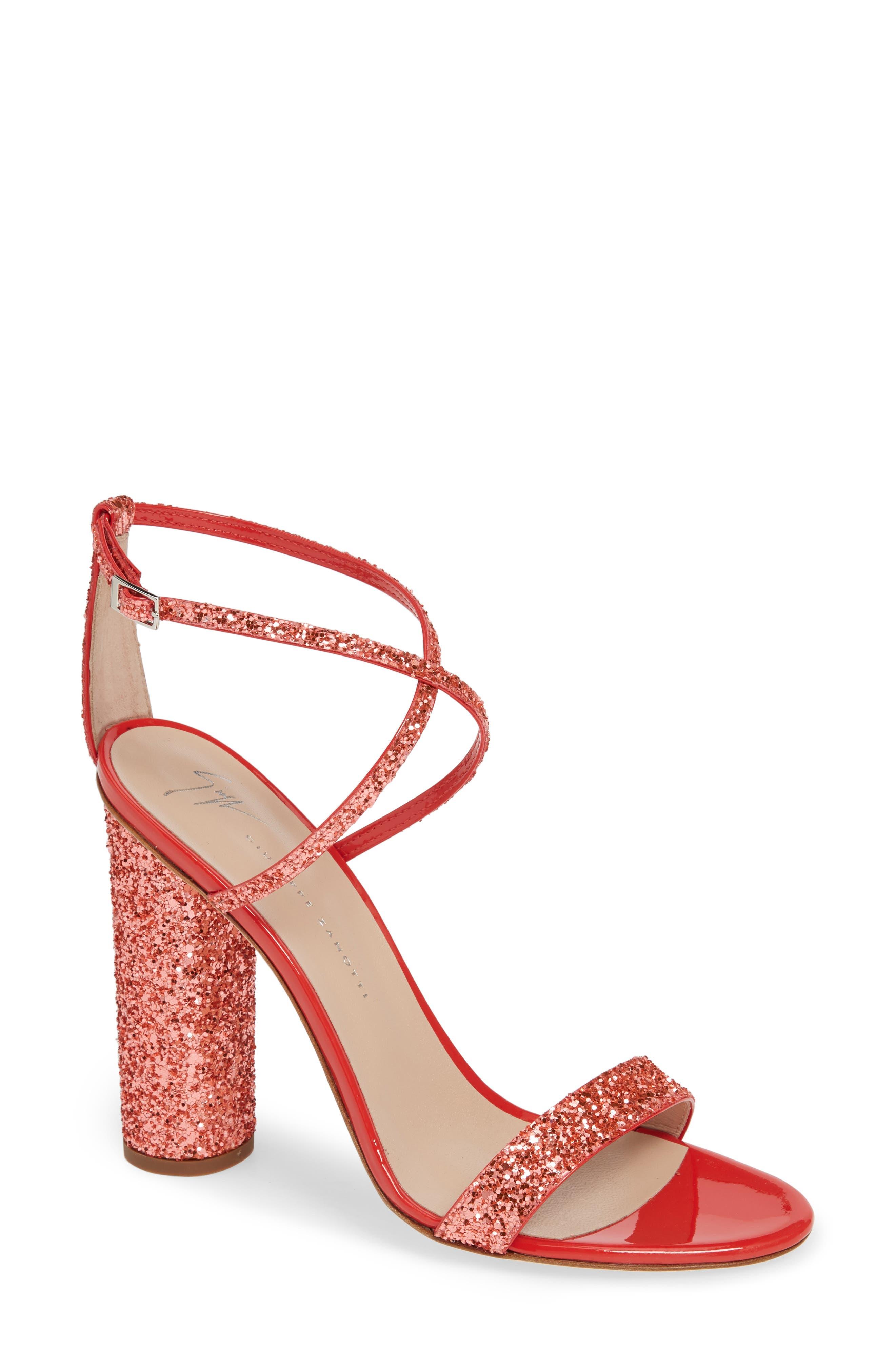 Giuseppe Zanotti Glitter Heel Sandal, Coral
