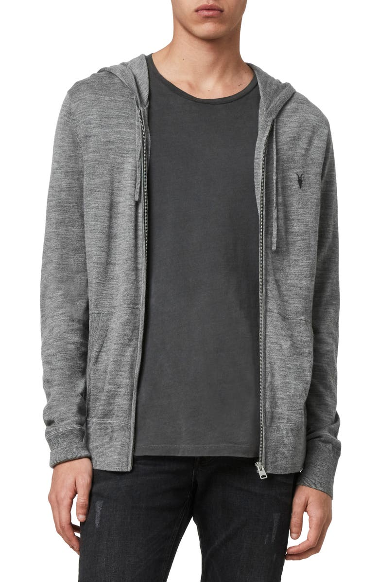 ALLSAINTS Mode Slim Fit Merino Wool Zip Hoodie, Main, color, GREY MARL