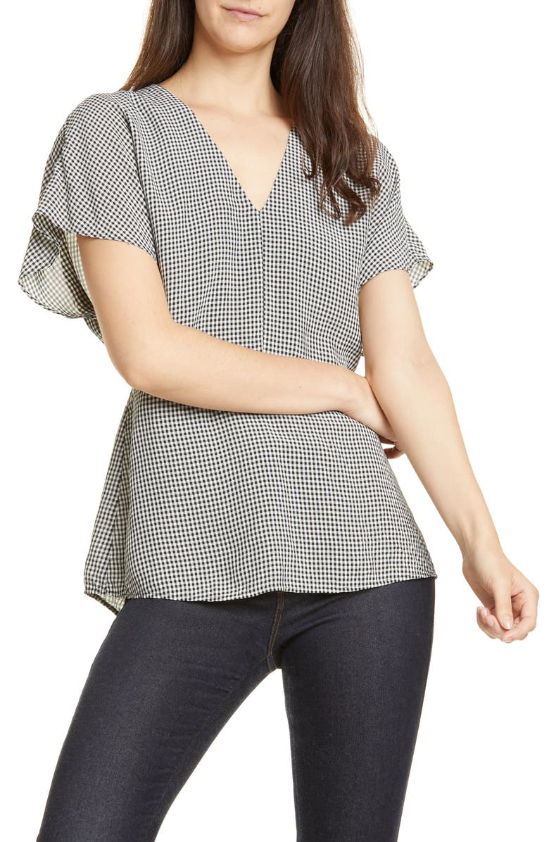Lewit Gingham V Neck Top