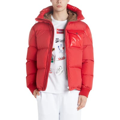 Moncler Eloy Quilted Hooded Puffer Coat, Red