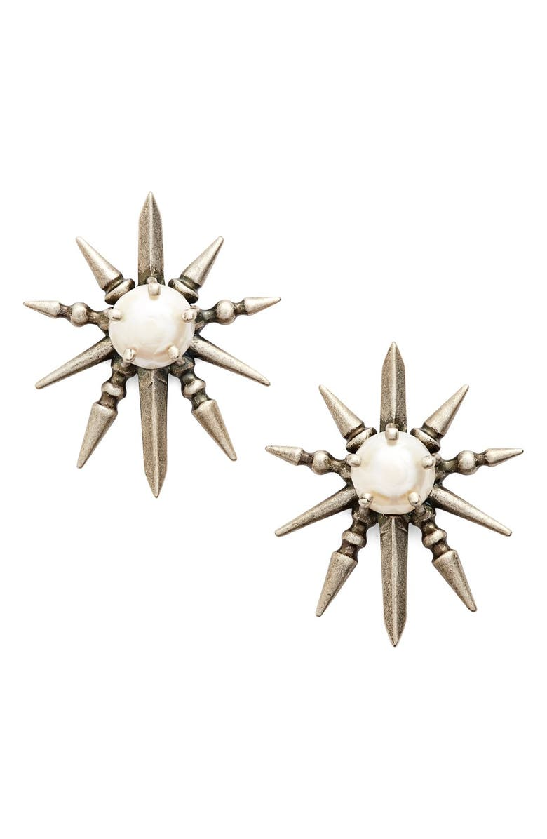 KENDRA SCOTT 'Rogan' Pearl Stud Earrings, Main, color, 040