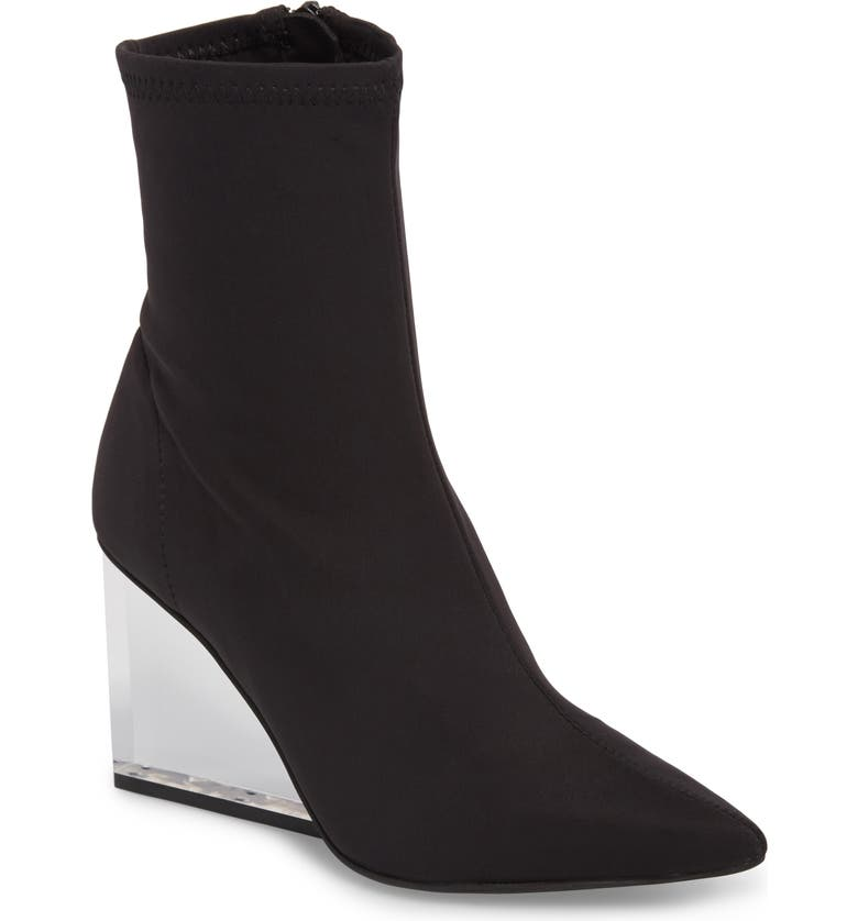 JEFFREY CAMPBELL Siren Clear Wedge Sock Bootie, Main, color, 008