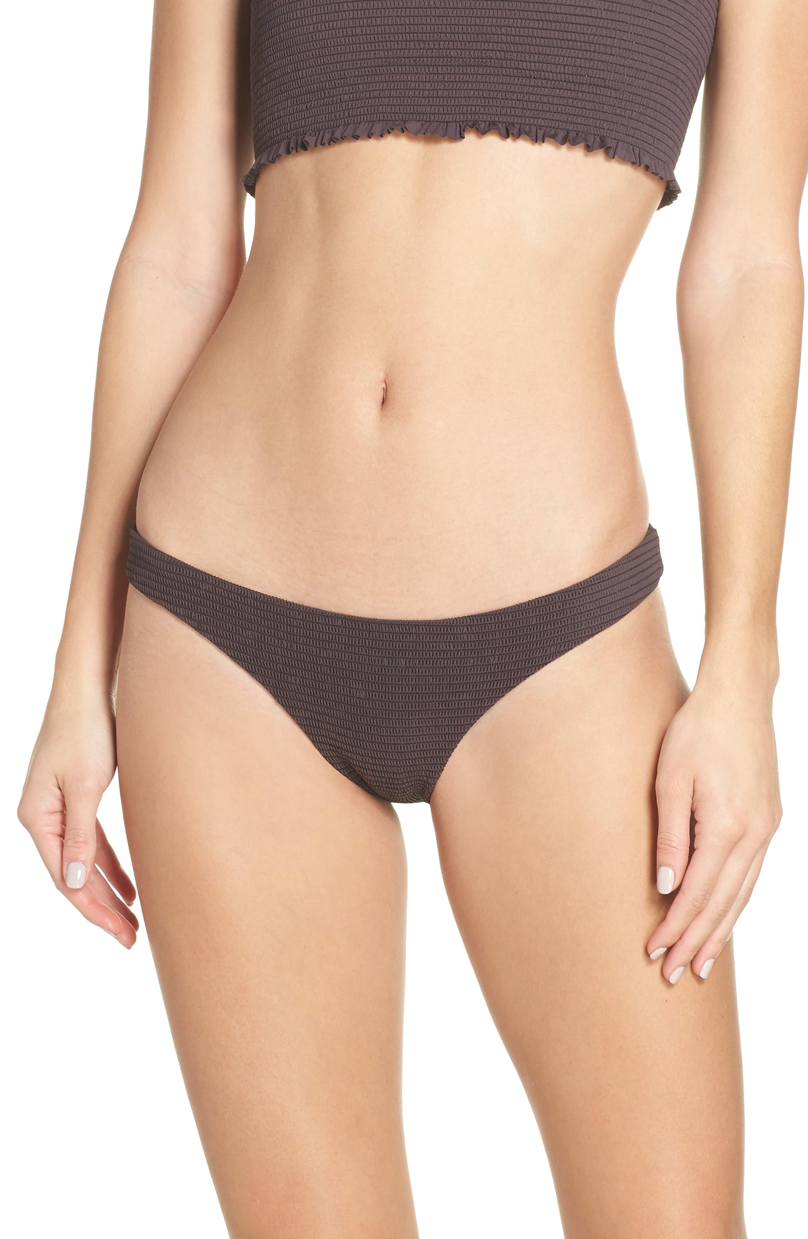 Pilyq Smocked Bikini Bottoms, Brown