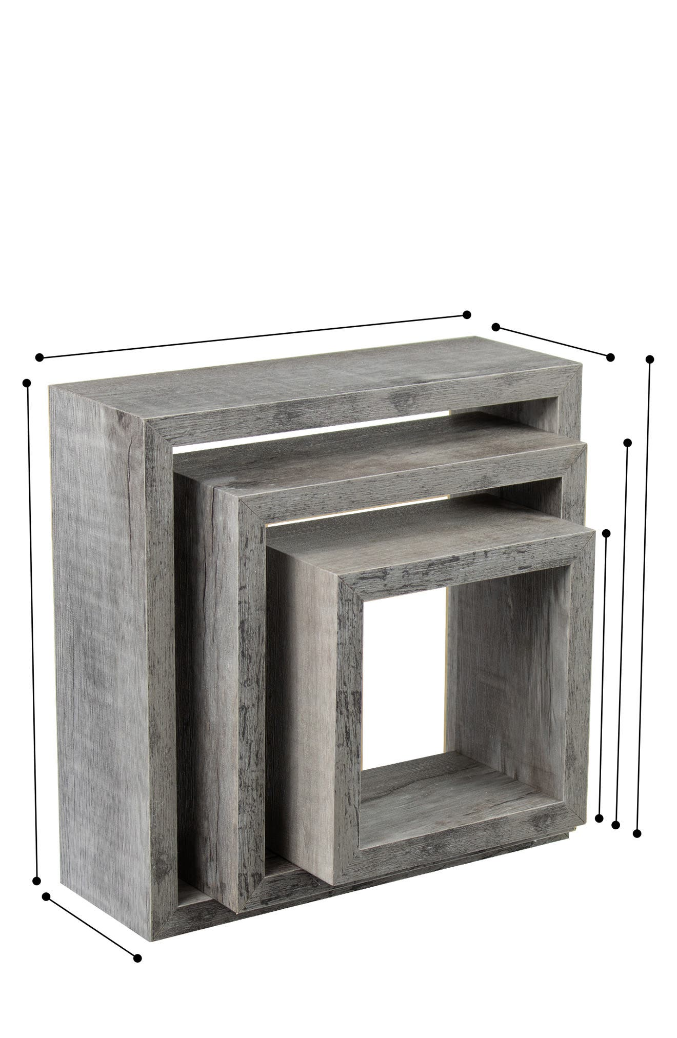 Image of Sorbus Floating Box Shelves 3-Piece - Gray Wood