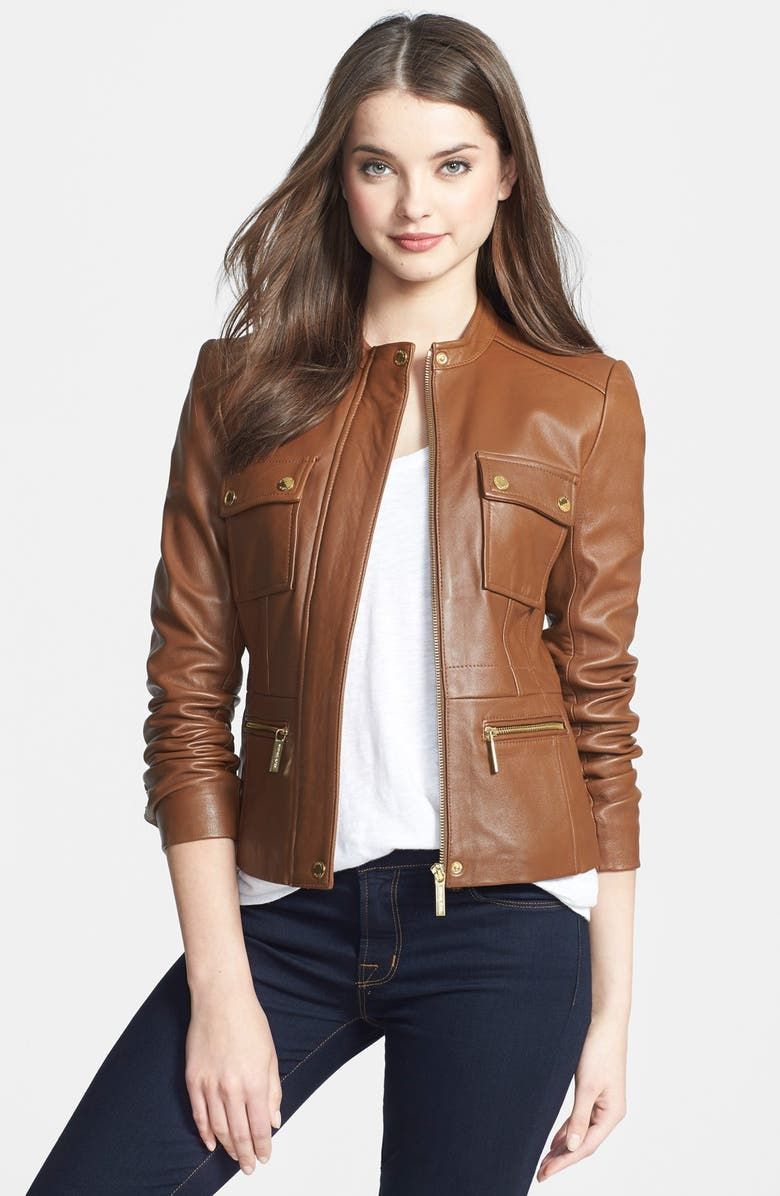MICHAEL MICHAEL KORS Four-Pocket Leather Jacket, Main, color, 249