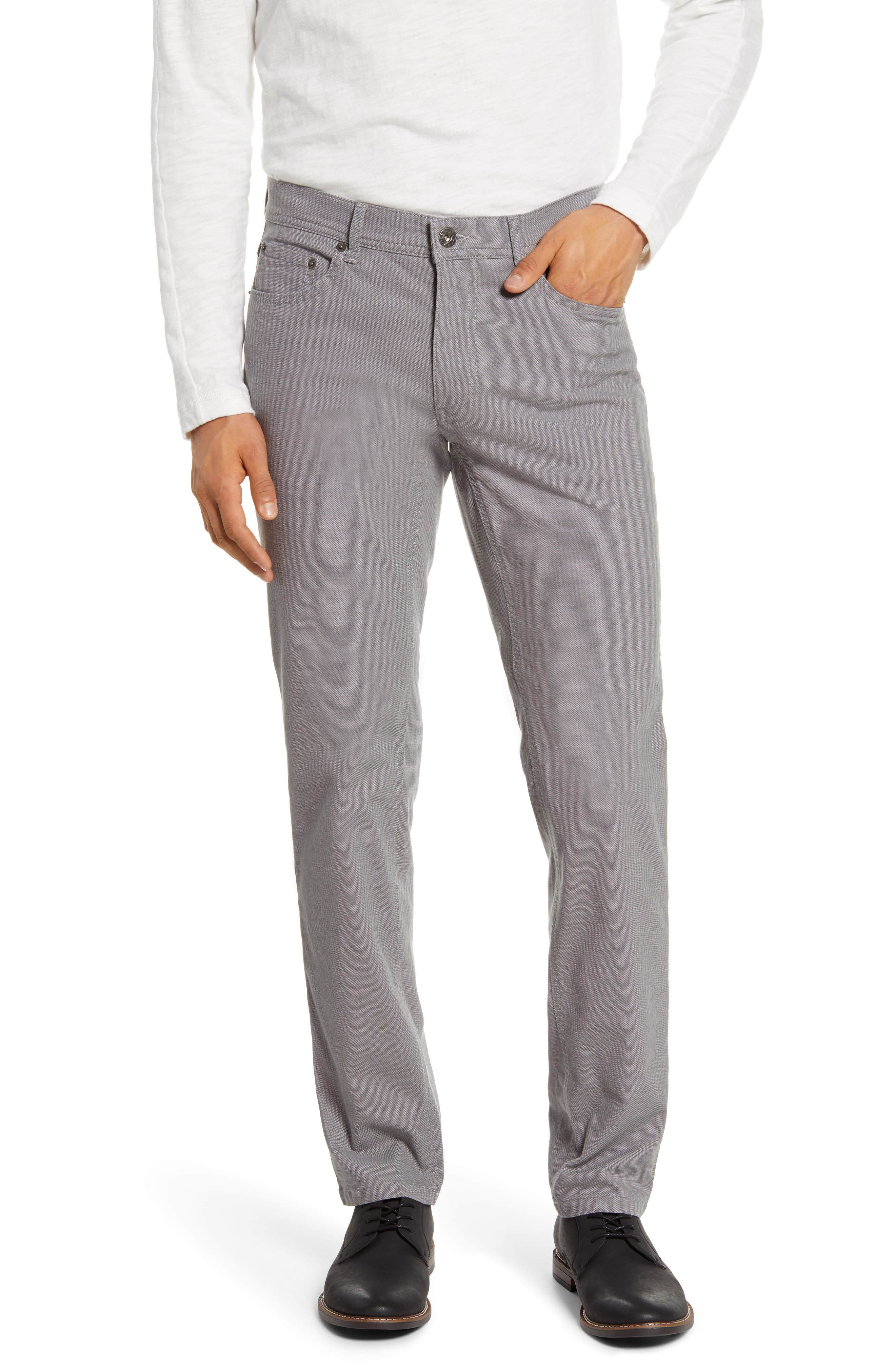 Soft coloring and a relaxed fit further the casual, comfortable appeal of five-pocket pants made from a two-tone stretch weave with a straight-leg profile. Style Name: Brax Cooper Fancy Straight Leg Pants. Style Number: 5936845 1. Available in stores.