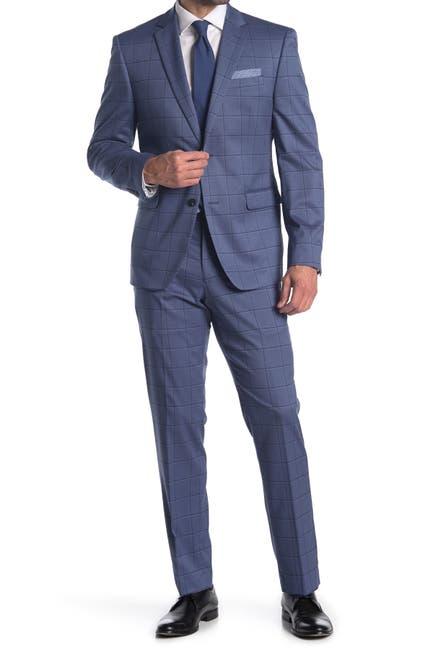 Image of Perry Ellis Dark Blue Plaid Two Button Notch Lapel Slim Fit Suit