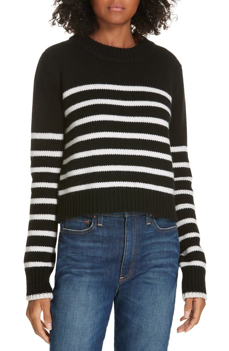 LA LIGNE Mini Maren Wool & Cashmere Sweater, Main, color, BLACK/ CREAM