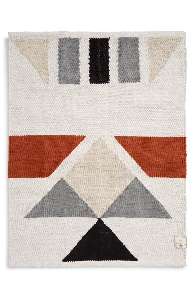 QUIET TOWN The Mendocino Kilim Cotton Bath Rug, Main, color, CLAY