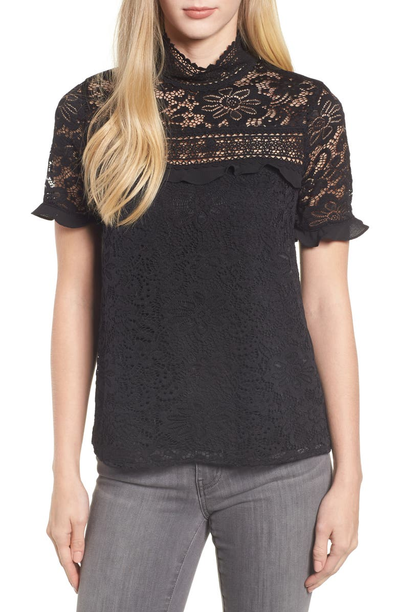 GIBSON x Glam Squad Sheaffer Lace Top, Main, color, 001