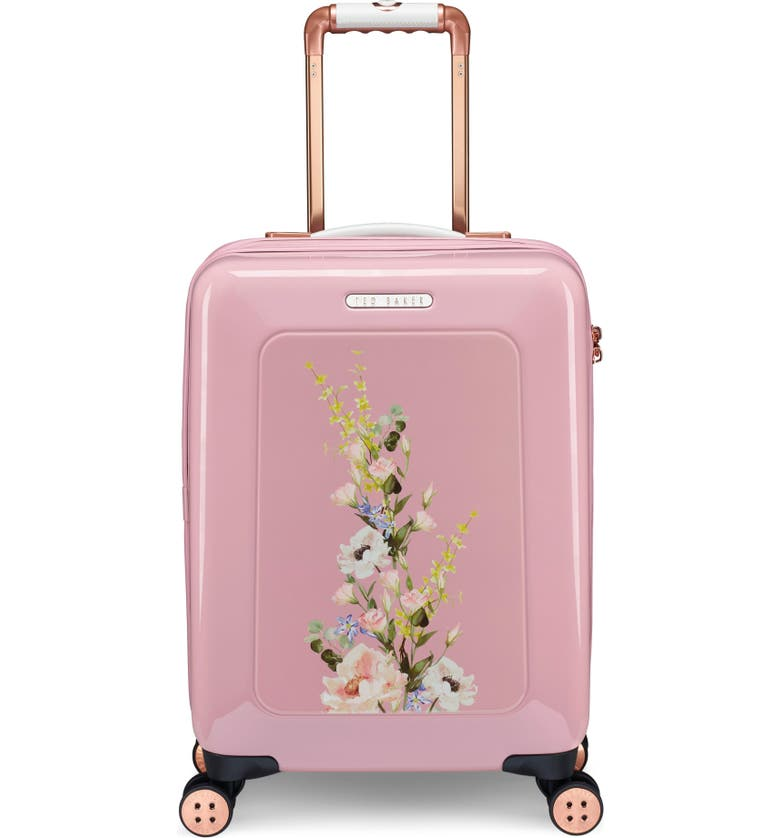 TED BAKER LONDON Small Elegant Print 21-Inch Spinner Carry-On, Main, color, PINK