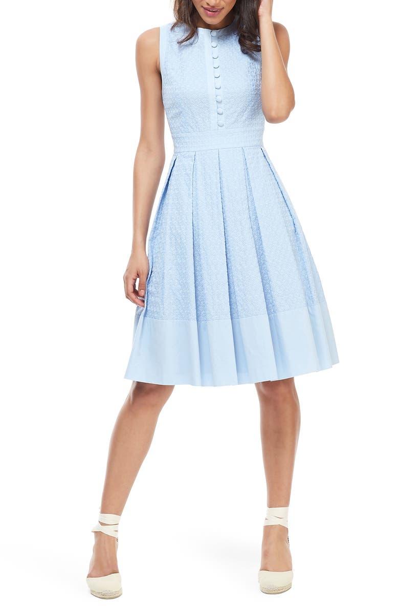 GAL MEETS GLAM COLLECTION Ellen Fit & Flare Cotton Dress, Main, color, BLUE