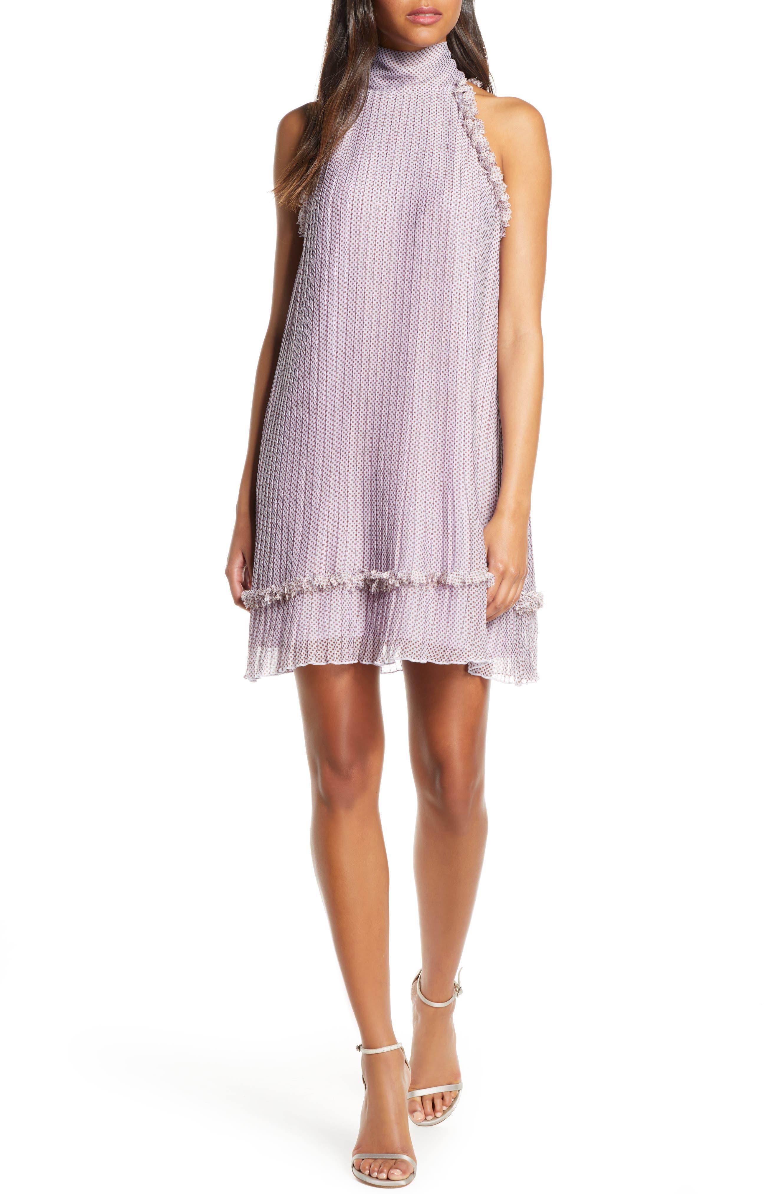 Foxiedox Plisse Polka Dot Chiffon Shift Dress, Purple