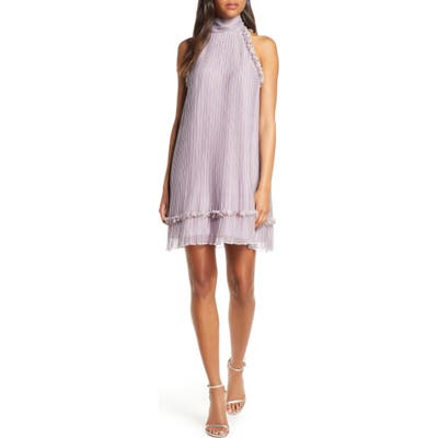 Foxiedox Plisse Polka Dot Chiffon Shift Dress, Purple