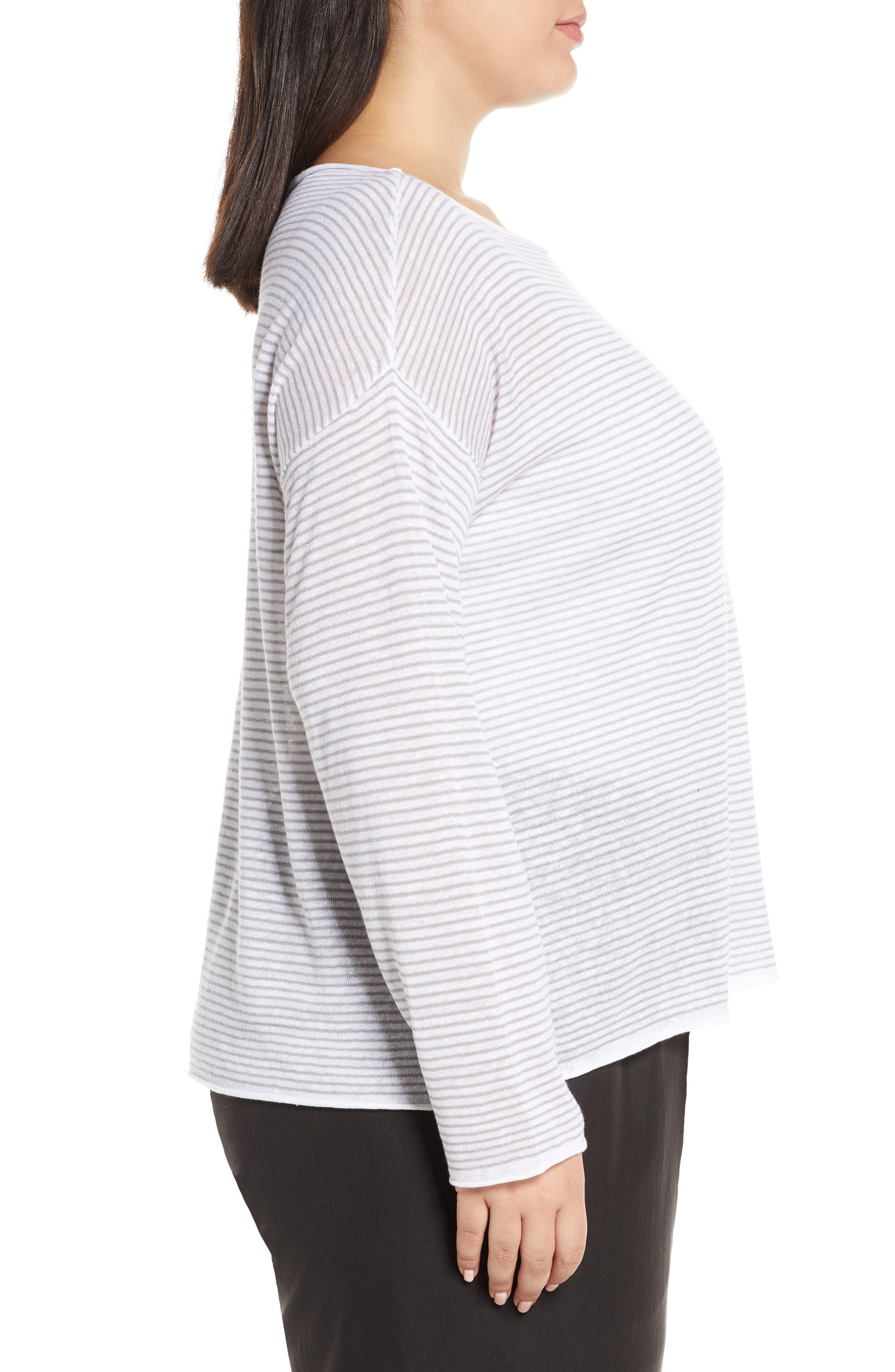 ,                             Stripe Linen & Cotton Top,                             Alternate thumbnail 3, color,                             DOVE