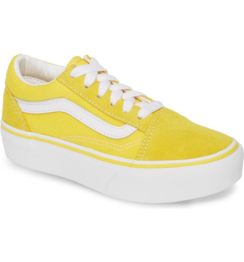 VANS Old Skool Platform Sneaker, Main, color, VIBRANT YELLOW/ TRUE WHITE